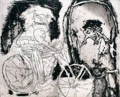 Autor: Gilberto Aceves Navarro / Bicicleta 2 / aguafuerte / 22x30 cm - 38x40 cm / Ed: 24