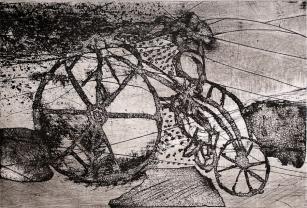 Autor: Gilberto Aceves Navarro / Bicicleta 3 / aguafuerte / 26x39 cm - 39x53 cm / Ed: 24