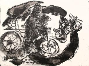 Autor: Gilberto Aceves Navarro / Bicicleta 5 / aguafuerte y aguatinta / 49x65 cm - 65x80 cm / Ed: 24