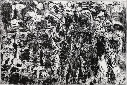 Autor: Gilberto Aceves Navarro / T: La Conquista 01 / aguafuerte y aguatinta / 33x50 cm - 41x62 cm