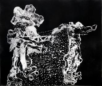Autor: Gilberto Aceves Navarro / T: Patinadores 7 / aguafuerte y aguatinta / 25x29 cm - 39x45 cm/ Ed: 24