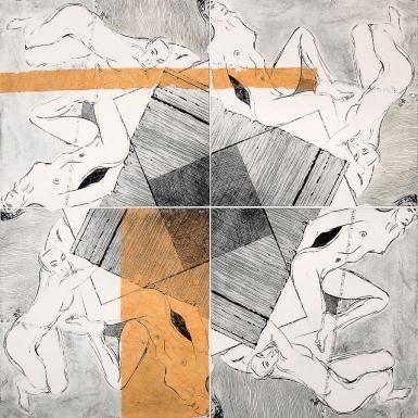 Humberto Baca - Echauri (alimón) / punta seca y chine colle / 80x80 cm / Ed: 1