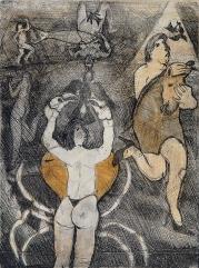 Humberto Baca Baca - Luis Valsoto (alimón) / aguafuerte y aguatinta a color / 49x36 cm - 80x54 cm / Ed: 18