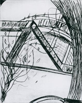 Autor: Humberto Baca / Título: Cabañas / Técnica: punta seca / Medidas: 50x63 cm / Edición: 18