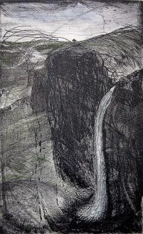 Autor: Humberto Baca / T: Cascada / aguafuerte y punta seca