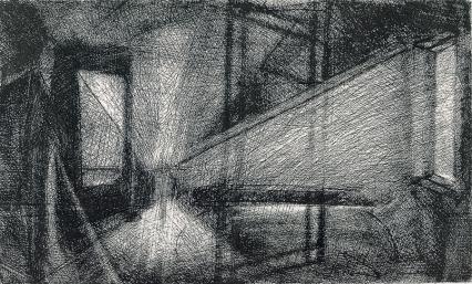 Autor: Humberto Baca / T: Interior con espejo / aguafuerte / 24x 39 cm / Ed: 13