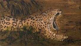 Autor: Humberto Baca / T: Jaguar / aguafuerte y punta seca a color / 26x45 cm / Ed: 13