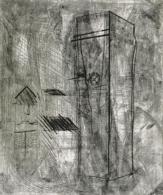Autor: Humberto Baca / T: La torre de los grillos / aguafuerte y punta seca / 59x49 cm / Ed: 13