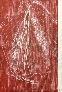 Autor: Humberto Baca / T: Lili roja / xilografía / 95x64 cm / Ed: 13
