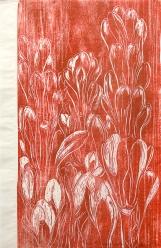 Autor: Humberto Baca / T: Nardos rojos / xilografía / 96x63 cm / Ed: 13