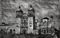 Autor: Humberto Baca / T: Santo Domingo en Oaxaca / aguafuerte / 49x77 cm /Ed: 24