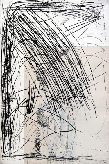 Autor: Humberto Baca / T: Sueño de enredadera seca / punta seca, chine colle y grafito / 108x79 c / Ed: 1