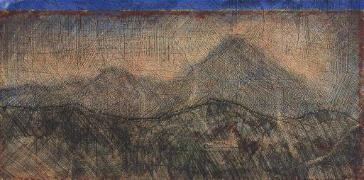 Autor: Humberto Baca / T: Volcán de Colima en Jalisco / aguafuerte a color / 30x50 cm - 47x80 cm / Ed: 13