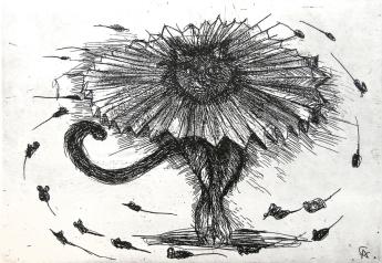 Autor: Alejandro Colunga / T: Gato bailarín negro / aguafuerte / 14x19.5 cm - 36x40 cm / Ed: 30