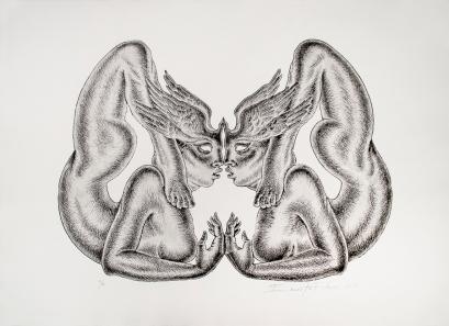 Autor: Ernesto Flores / Título: Ninfas / Técnica: aguafuerte / Medida: 43x59 cm / Edición: 12