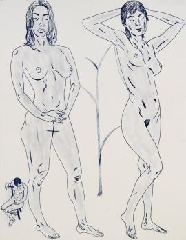 Autor: José Fors / Título: Dos mujeres / Técnica: punta seca / Medida placa 445x345 mm - papel 67x53 cm / Ed: 12