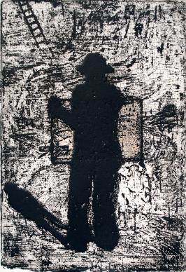 Autor: Gil Garea / Título: Homenaje a Van Gogh / Técnica: aguafuerte y chine colle / Medida 25x17cm / Edición: 18 (Año: 2003)