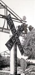 Autor: Enrique Hernández / Título: Ferrocarril / Técnica: aguafuerte / Medida placa 34x16 cm - papel 61x33 cm / Edición: 18