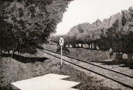 Autor: Enrique Hernández / T: Vías del tren / aguafuerte / 49x72 cm / Ed: 18