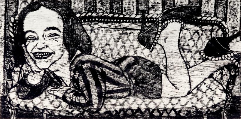 Autor: Juan Carlos Macías / T: La niña 2 / punta seca / 50x100 cm - 67x108 cm