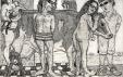 Autor: Juan Carlos Macías / T: Retrato de grupo con Baca 4 / aguafuerte / 28x44 cm - 54x80 cm / Ed: 30