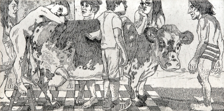 Autor: Juan Carlos Macías / T: Retrato de grupo con Baca 5 / aguafuerte / 30x59 cm - 54x80 cm / Ed: 30