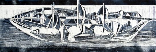 Autor: Gabriel Macotela / Título: Barco nocturno / Técnica: aguatinta y aguafuerte / 33x99 cm / Edición: 36
