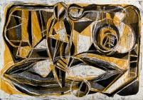Autor: Gabriel Macotela / T: Figura pétrea / aguatinta y aguafuerte / 34x49 cm / Ed: 36