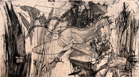 Autor: Leyre Federika Montes / Título: Serena / Técnica: barniz blando / Medida placa 33x54 cm - papel 33x54 cm / Ed: 12