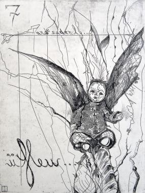 Autor: Leyre Federika Montes / T: U flew / aguafuerte / 60x45 cm - 54x80 cm / Ed: 12