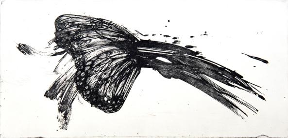 Autor: Luis Moro / Título: Mariposa 2 / Técnica: barniz blando / Medida placa 16x33 cm - papel 32x45 cm / Ed: 13