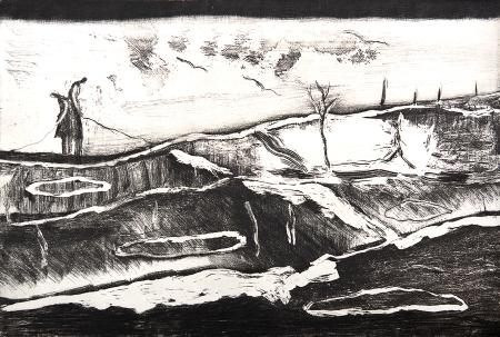 Autor: Ana Luis Rébora / Título: Ambas / Técnica: aguafuerte y manera negra / Medida placa 35x49 cm - papel 54x79 cm / Ed: 16