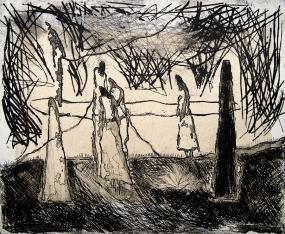 Autor: Ana Luis Rébora / T: El resorte y el maguey / aguafuerte, punta seca y chine colle / 49x60 cm / Ed: 16
