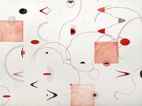 Autor: Roberto Turnbull / T: Rojo Máscaras / aguafuerte y barniz blando / 49x66 cm - 61x79 cm /E: 9