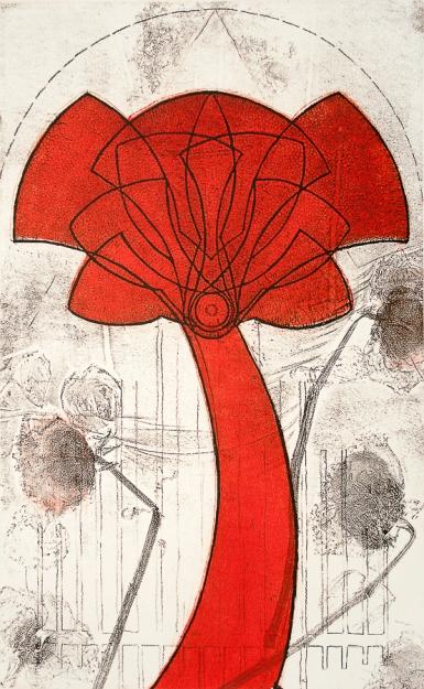 Autor: Jerónimo Uribe / T: Flor de luz / aguafuerte / 43x26 cm - 79x43 cm / Ed: 49